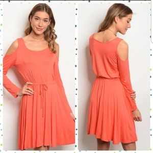 Coral Cold-Shoulder Tie Front Dress **NWT**